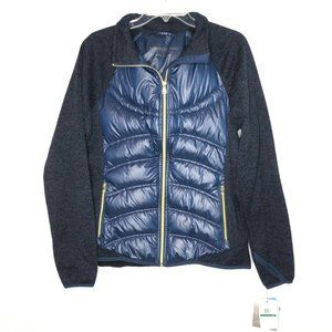 NWT London Fog Puffer Sweater Jacket L